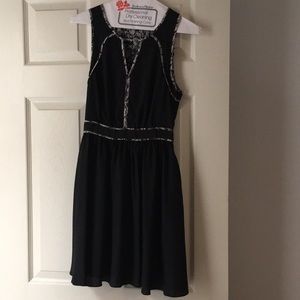 Armani Exchange black fit & flare chiffon dress